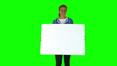 Smiling Fit Blonde Showing Poster stock footage
