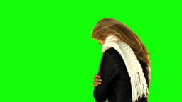 Shivering Pretty Woman With Winter Clothes stock footage