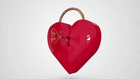 Key Opening A Heart Lock stock footage