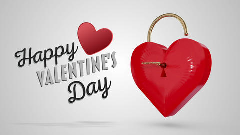 Key opening a heart lock with valentines message, Stock Animation