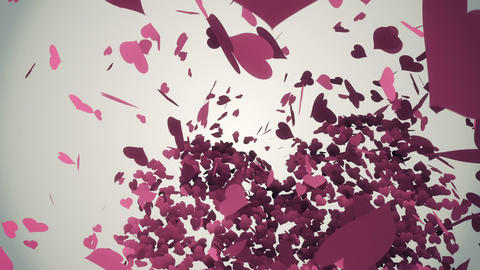 Pink hearts falling with valentines message Animation