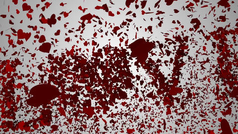 Red hearts falling on white surface with valentines message Animation