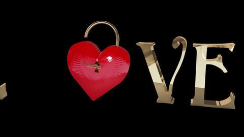 Key opening a heart lock Animation