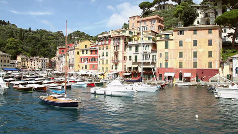 Portofino Sea Town With Port And Boats In Italy stock footage