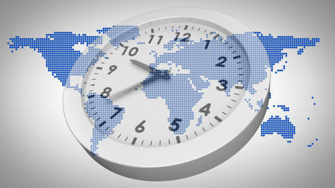 Clock ticking against world map Animation