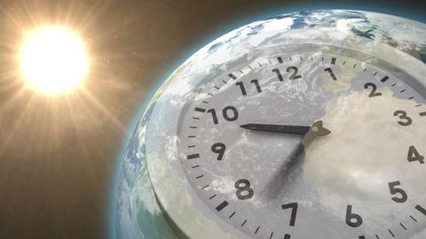 Clock ticking against sun on the earth Animation