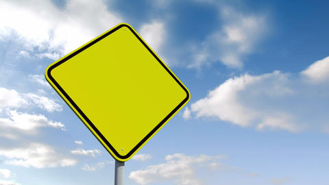 Empty yellow road sign over cloudy sky Animation