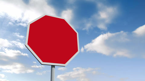 Empty red road sign over cloudy sky Animation