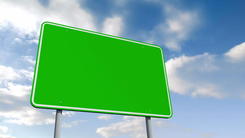 Empty green road sign over cloudy sky Animation