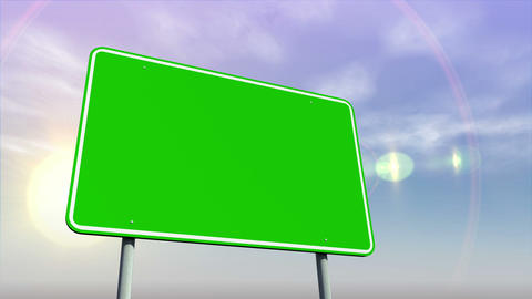 Empty green road sign against changing sky Animation