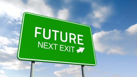 Future and next exit road sign over cloudy sky Animation