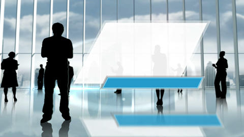 Silhouette of business people in office Animation