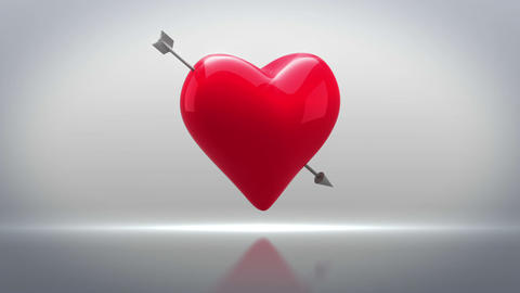 Red heart with an arrow turning on grey background Animation