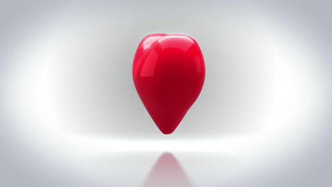 Red heart turning and exploding on grey background Animation