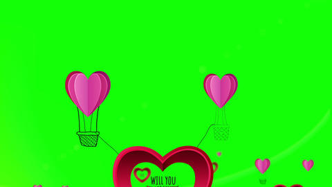 Happy Valentines Day Vector With Heart Hot Air Bal stock footage