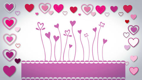 Valentines day vector with heart flowers Animation