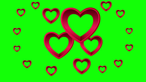 Valentines Day vector with hearts on green background Animation