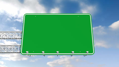 Road sign against blue sky Animation