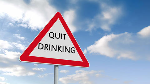 Quit drinking sign against blue sky Animation
