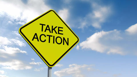 Take action sign against blue sky Animation
