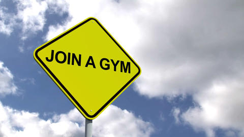 Join a gym sign against blue sky Animation