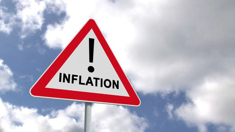 Inflation sign against blue sky Animation