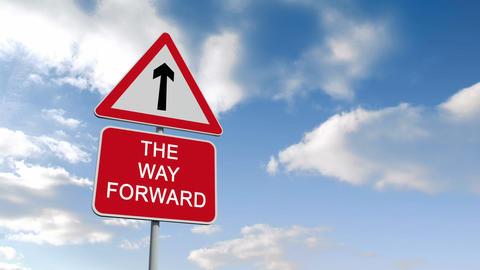 The way forward sign against blue sky Animation