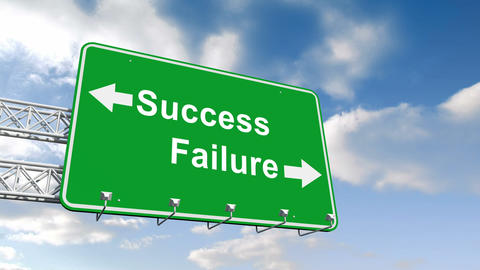 Success and failure sign against blue sky Animation