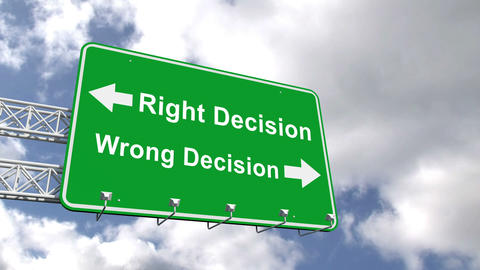 Right And Wrong Decision Sign Against Blue Sky stock footage