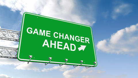 Game changer ahead sign against blue sky Stock Video Footage