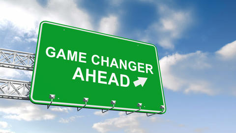 Game changer ahead sign against blue sky Animation