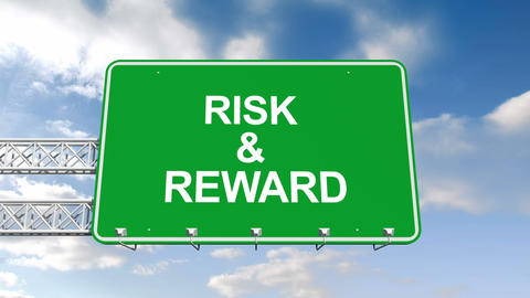 Risk and reward sign against blue sky Animation