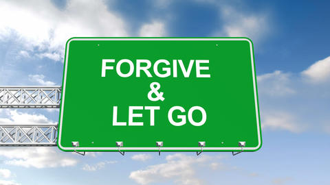 Forgive And Let Go Sign Against Blue Sky stock footage