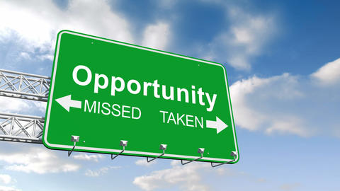 Opportunity Sign Against Blue Sky stock footage