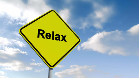 Relax Sign Against Blue Sky stock footage
