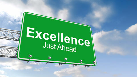 Excellence just ahead sign against blue sky Animation