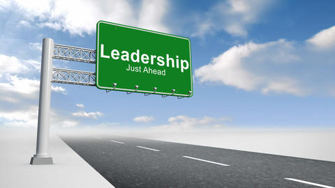Leadership sign over open road Animation