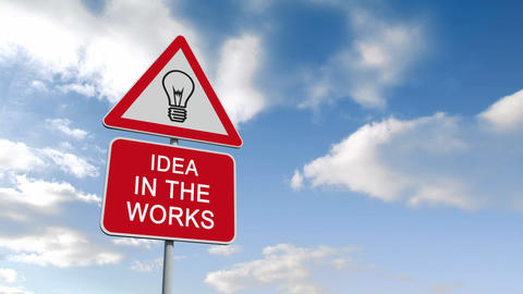 Idea in the works sign against blue sky Animation