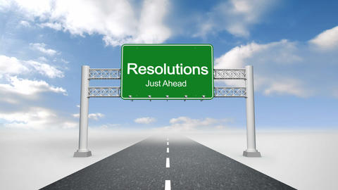 Resolutions Just Ahead Sign Against Blue Sky stock footage