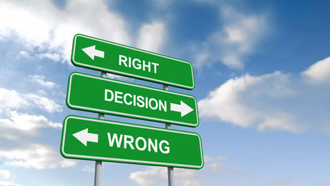 Right wrong decisions signs against blue sky Animation