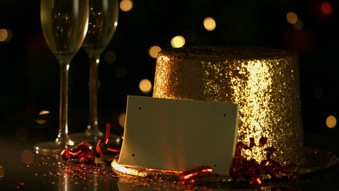 Golden Hat With A Blank Card stock footage
