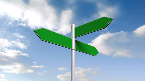 Green Signpost Against Blue Sky stock footage