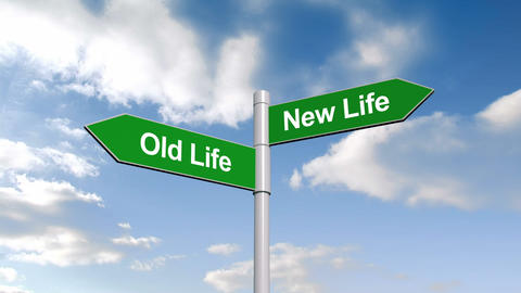 Old Life And New Life Signpost Against Blue Sky stock footage