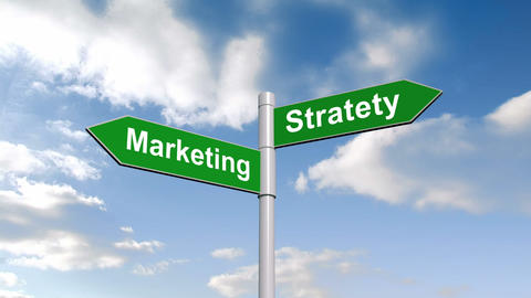 Marketing strategy signpost against blue sky Animation