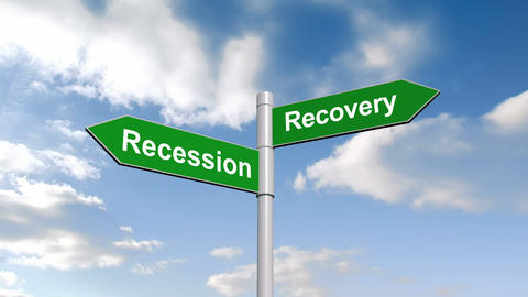 Recession recovery signpost against blue sky Animation