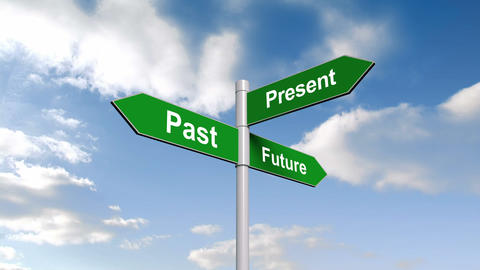 Past present future signpost against blue sky Animation
