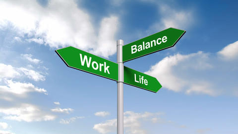 Work life balance signpost against blue sky Animation