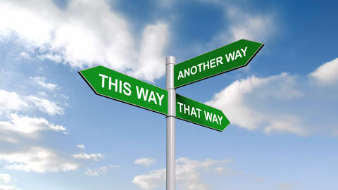 This And That Way Signpost Against Blue Sky stock footage