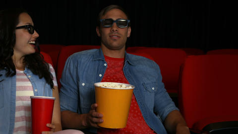 Couple Watching 3d Movie In Cinema stock footage