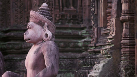 View Of Banteay Srey Temple In Cambodia Asia stock footage